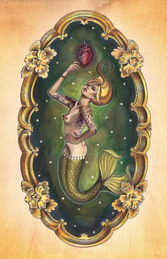 Sailors Grave Mermaid with Heart by Brittany Morgan Tattoo Art Print