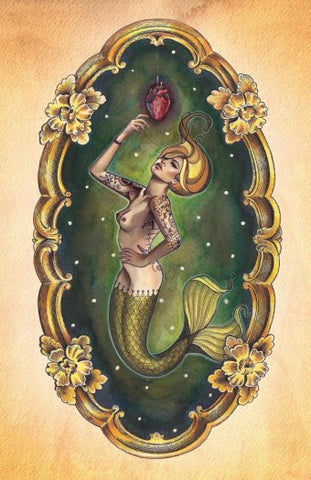 sailors grave nude mermaid with anatomical heart by brittany morgan lowbrow artwork canvas art print sexy  anatomical  real  frame  painting