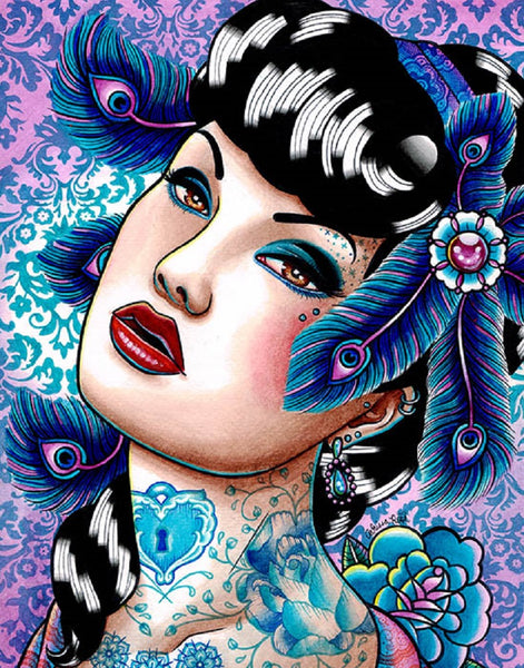 sapphire nights by carissa rose woman w/ peacock feathers framed fine art print rockabilly  bettie-page  sexy artwork asian