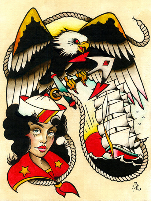 tattooed eagle queen mary sailor girl americana alternative artwork painting traditional tattoo flash designs color artwork a