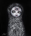 secretos by abril andrade griffith goth ghost big eye girl canvas fine art print haunted  haunting  new-age  spirit  fine-art-print