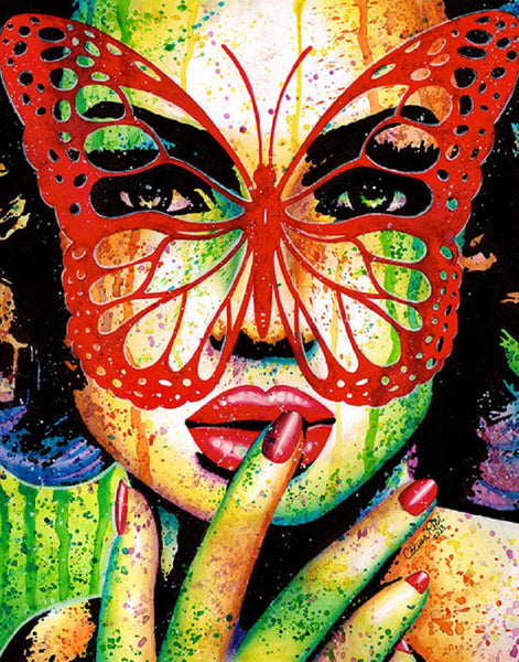 secrets by carissa rose butterfly masked woman electric rainbow canvas art print punk butterflies colorful artwork girl