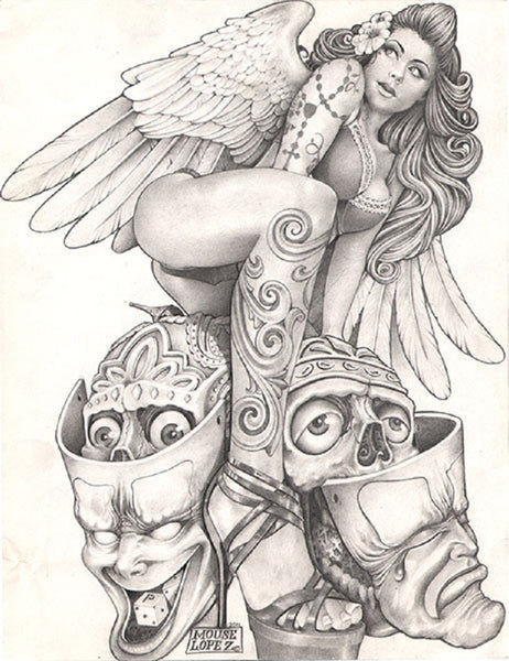 sexy angel by mouse lopez stripper woman with skulls tattoo canvas art print joker-masks drama-masks topless stripper angel-wings