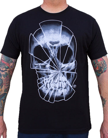 Men's Shattered by Josh Stebbins Black Market Art Skull Tattoo T Shirt