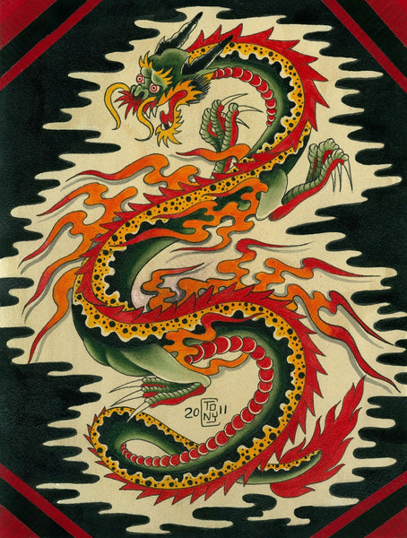 singapore dragon by tony carey canvas or paper rolled art print old-school  chinese  japanese artwork artist