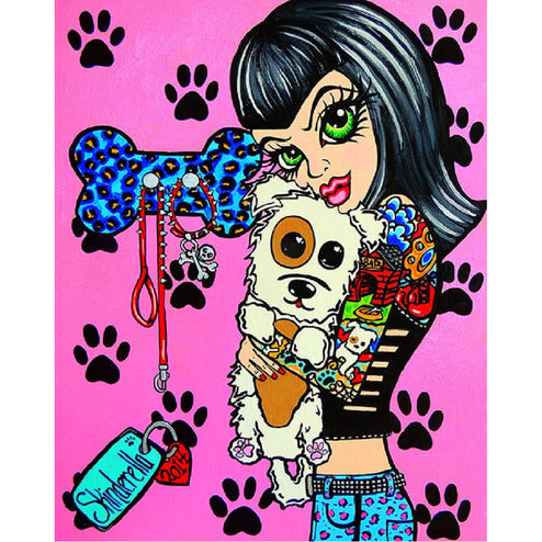 puppy pop art artwork alternative rockabilly painting traditional tattoo flash designs color artwork artist black wood home d