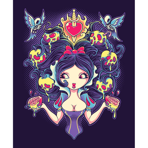 fine art prints giclee printing gothic goth skull apple princess blue birds pin-up girl teen-girls skeletons fan art animated