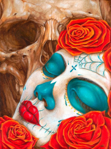 skull and roses by eric quezada sugar death mask tattoo designs fine art print mexican-sugar-skull  death-mask  dia-de-los-muertos  skeleton  tattoo-roses