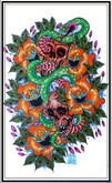 Skulls and Snake by Jon Leighton Rolled Canvas Art Giclee Print