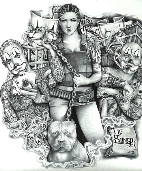 soner girl by mouse lopez canvas or paper rolled art print pitbull joker-mask tattoo-sleeve sexy-woman juggalo