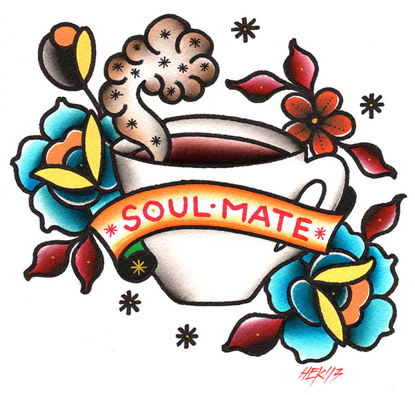 soul mate by hek canvas or paper rolled art print old-school-tattoo-art  coffee  tattoo-roses  colorful-tattoo-flash  tattoo-sketch