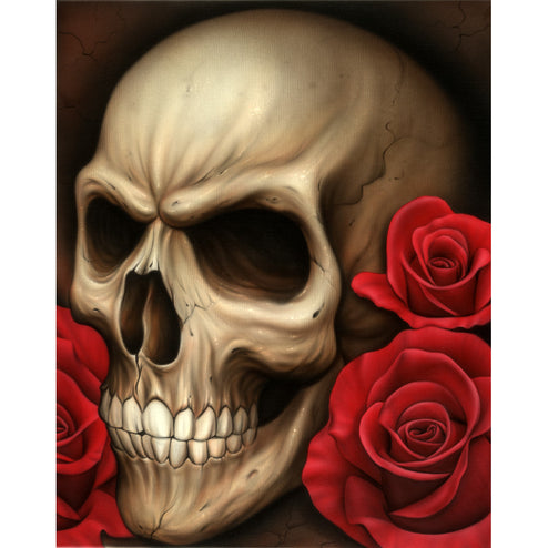 Skull by Spider Red Roses Tattoo Unframed Fine Canvas Art Print