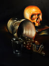 spill by brian mathew antique pirate skull tattoo canvas giclee art print skeleton gothic goblet victorian alternative-artwork