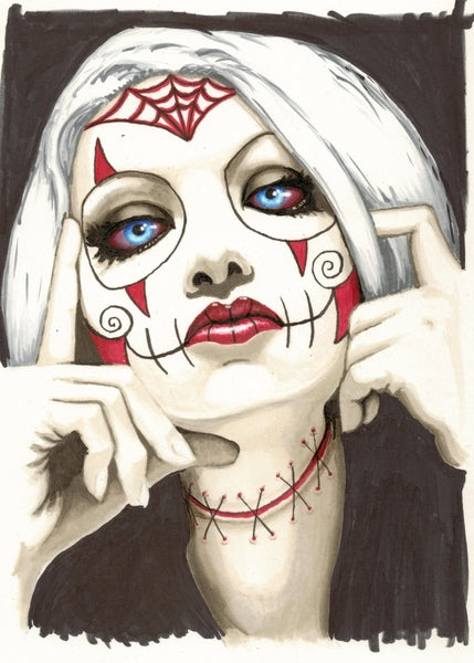 spyder baby by shayne bohner woman day of the dead tattoo mask canvas art print day-of-the-dead  dia-de-los-muertos  blood  spider-web  spider-tattoo