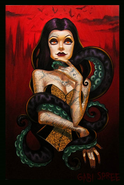 squid ink lady by gabi spree sexy woman w/ tentacles tattoo canvas art print octopus tenticles gothic dark sexy