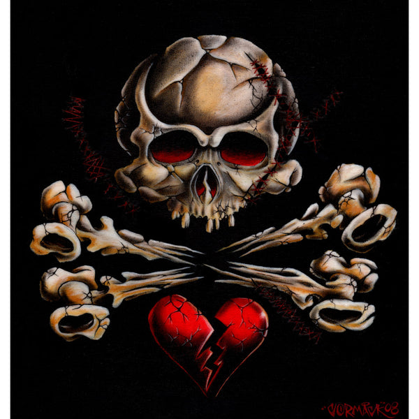 Stitched Skull by Cormack Crossbones Broken Heart Tattoo Canvas Fine Art Print gothic  love  alternative artwork wall-art