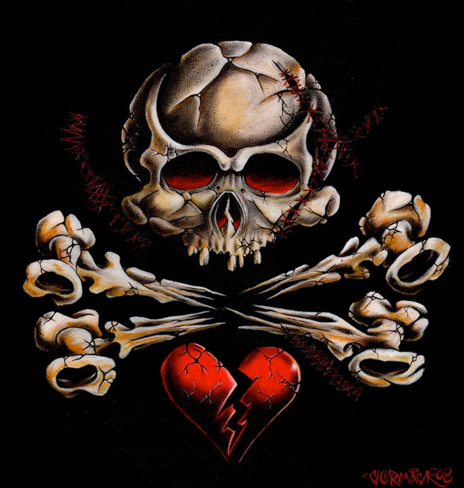Stitched Skull by Cormack Crossbones Broken Heart Canvas Art Print