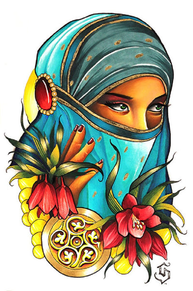 stolen breaths by siege new age symbol gypsy woman tattoo canvas art print head-covering tattooed-tulips hand-symbol tattoo-flash gothic