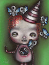 stuffin by abril andrade griffith girl w skeleton butterflies canvas art print child  sugar-skull  alternative artwork painting