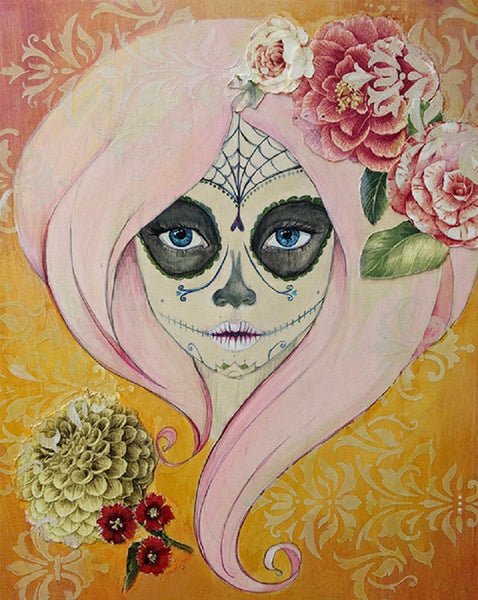 sugar and spice by heather younger girly death mask canvas giclee art print dia-de-los-muertos death face mask day-of-the-dead