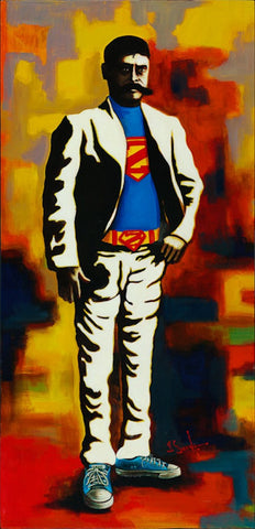 super by david silvah character mexican superman portrait canvas art print super-hero spanish television characters fanart