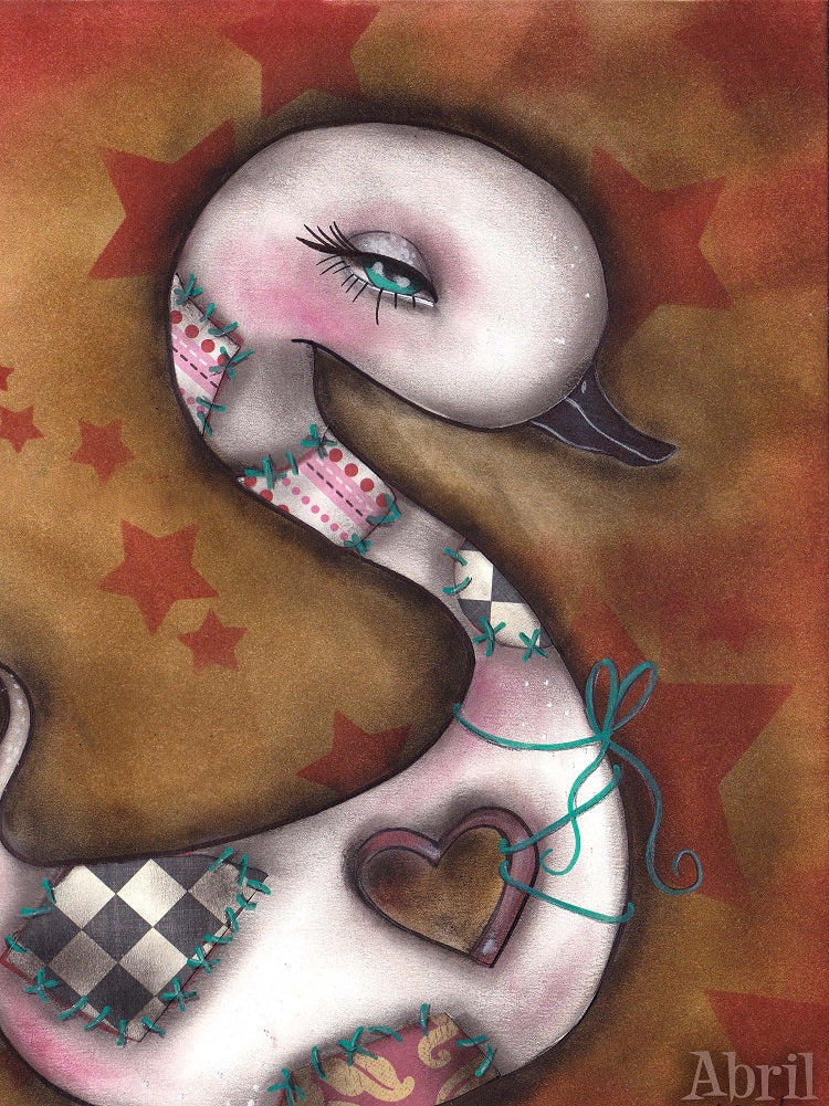 The Missing Piece by Abril Andrade Big Eye Swan Bird Canvas Art Print