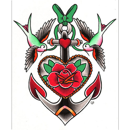 tattoo flash sparrow swallow tattooed roses nautical painting traditional flash design colorful girls women woman color artwo