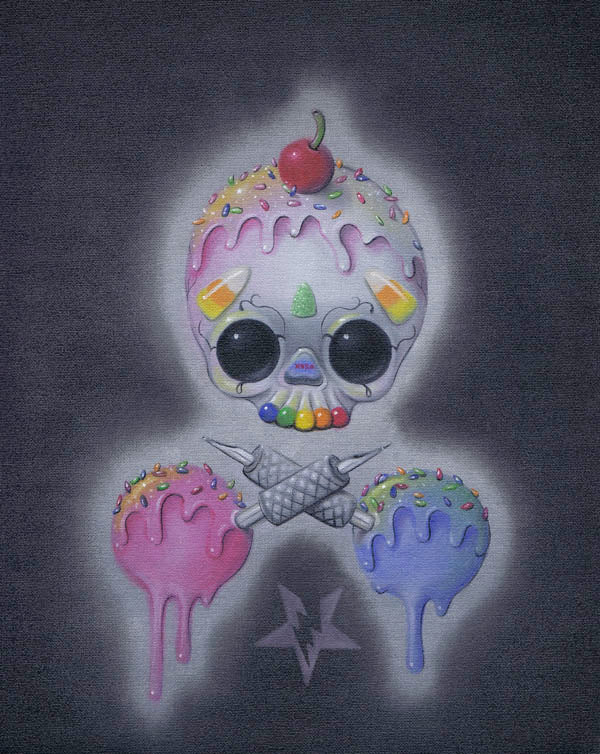 skull and crossbones sugar skull ice cream dessert alternative artwork painting traditional tattoo flash designs color artwor