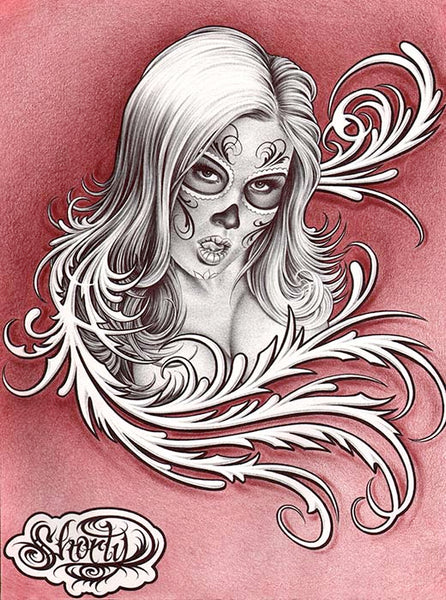 swirl girl by fernando shorty lopez sexy woman skull tattoo canvas art print sexy-woman  death-mask  dia-de-los-muertos  day-of-the-dead  alternative-artwork