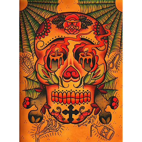 folk-art traditional latin colorful color hanging home house day dead dia de los muertos wall home sugar skull latino picture