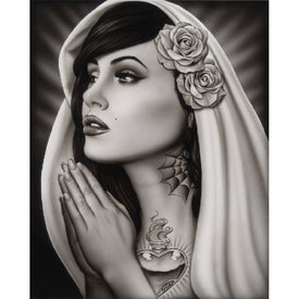 Tattooed Mary by Spider Praying Unstretched Canvas Fine Art Print