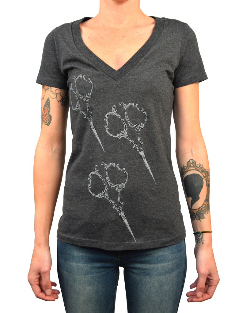 Women's Annex Shears Victorian Scissors Hair Salon Barber T-Shirt Top