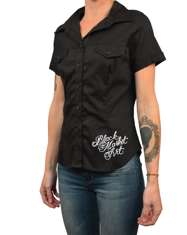 Women's Eve by Jarad Bryant Tattooed Woman Short Sleeve Black Blouse