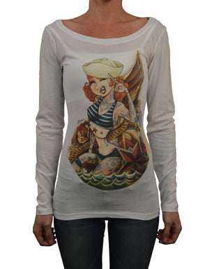 women's sailor jerri tyson mcadoo long boat neck jerry sailor tattoo popeye tee tattoo  pin-up  nautical trend sexy