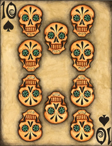 10 by gabe londis mexican sugar skull poker playing card tattoo canvas art print artwork  teens  goth nerd  giclee