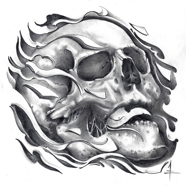 tretick skull by jessie tretick black & white flaming skeleton tattoo art print biker  goth  fire  tattoo-flash  death