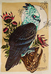 the hunter by alex mister p crested hawk bird of prey canvas giclee art print alternative  new-age  steampunk tattoo artwork