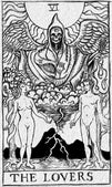 The Lovers by Shayne of the Dead Fortune Teller Tarot Cards Canvas Art Print dark-magic  psychic  adam-and-eve fortune-teller romance