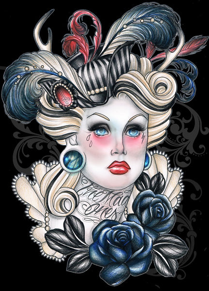 the mad ones by hilary jane victorian zombie woman tattoo giclee art print steampunk goth lady picture horror