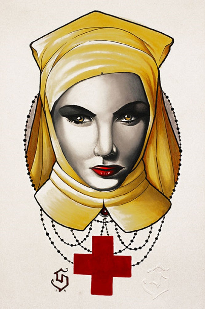 goth creepy nun rosary red cross alternative artwork painting traditional tattoo flash designs color artwork artist black woo