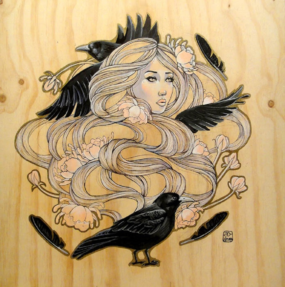 The Raven by Amy Dowell Woman w/ Black Birds Canvas Giclee Art Print