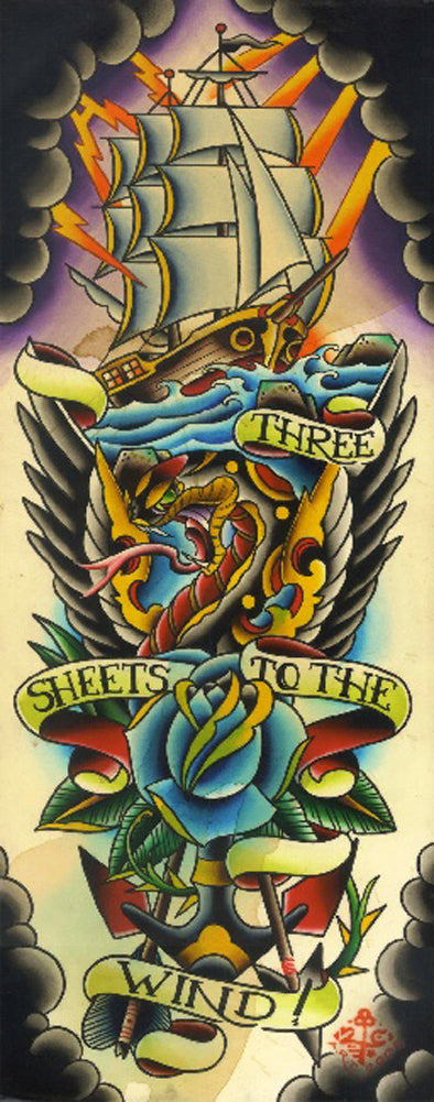 Three Sheets To The Wind by 2 Cents Tattoo Art Canvas Print