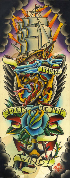 three sheets to the wind by 2 cents tattoo art canvas giclee print old-school  traditional-tattoo  snake  anchor  banner