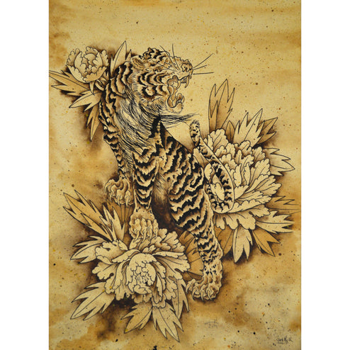 Tiger & Botan by Clark North Japanese Tattoo Unframed Canvas Art Print