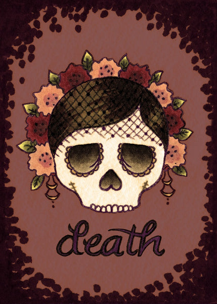 till death skull woman brittany morgan steampunk tattoo giclee art print