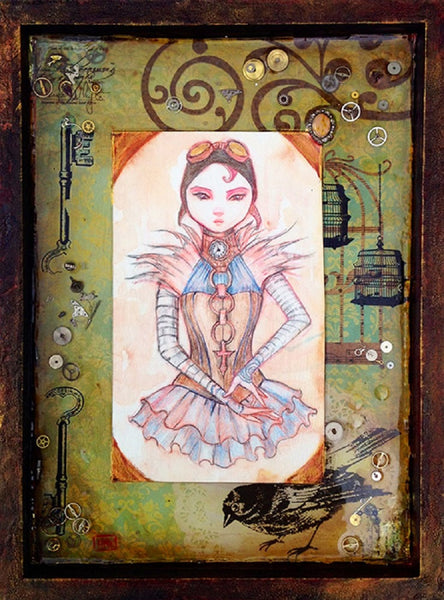 the timekeepers daughter by heather younger steampunk canvas giclee art print gears victorian pocket-watch painting time-travel