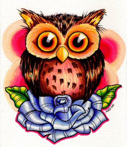 Tiny Owl by Michael Madison Bird on Blue Rose Tattoo Canvas Art Print