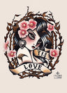 Tis Love by Susana Alonso Cherry Blossom Girl Tattoo Art Print