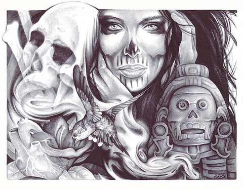 tzitzimime by spyder undead skull woman anatomic heart tattoo canvas art print aztec-idol  alternative artwork drawing sketch