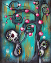 Day of the Dead fine art print skeleton sugar skulls painting traditional tattoo flash designs color artwork artist black woo